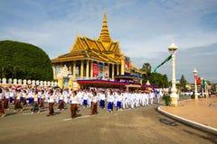 Van de de Onafhankelijkheidsdag van Kambodja de Zilveren Pagode van Royal Palace Royalty-vrije Stock Afbeeldingen
