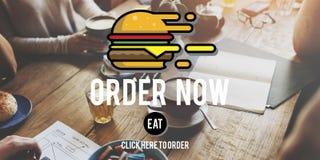 Van de de Orde nu Online Hamburger van het menurestaurant het Snelle Voedselconcept Royalty-vrije Stock Fotografie