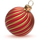 Van de de Oudejaarsavonddecoratie van de Kerstmisbal gouden rode glanzend royalty-vrije illustratie