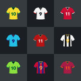 Van de de overhemdenillustratie van de voetbalvoetbal het pictogramreeks Stock Foto