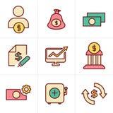 Van de de Pictogrammenstijl van de pictogrammenstijl de reeks van het de Financiënpictogram, vector Royalty-vrije Stock Afbeeldingen