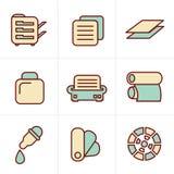 Van de de Pictogrammenstijl van de pictogrammenstijl geplaatste de Drukpictogrammen Stock Afbeeldingen