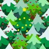 Van de de pijnboomboom van het Kerstmisthema het bos dichte naadloze patroon Stock Fotografie