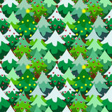 Van de de pijnboomboom van het Kerstmisthema het bos naadloze patroon Stock Fotografie
