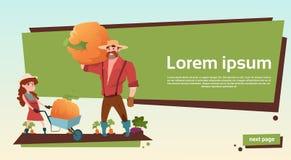 Van de de Pompoenoogst van And Daughter Gather van de landbouwersvader het Exemplaarruimte stock illustratie