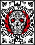 Van de de Pretmens van schedelnew york de T-shirt Grafisch Ontwerp Stock Fotografie