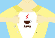 Van de de programmeringsheld van Java het vlakke ontwerp Gevorderd Java die conceptuele illustratie programmeren Royalty-vrije Stock Foto