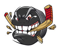 Van de de puckonderbreking van het hockey het hockeystok Stock Afbeeldingen