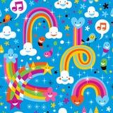 Van de de regenbogenregen van wolken het patroon van de dalingenharten royalty-vrije illustratie
