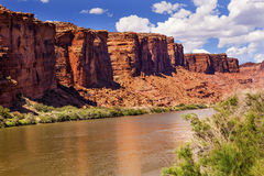Van de de Rivierrots van Colorado de Canionbezinning Moab Utah Stock Foto