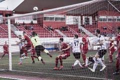 Van de de Rotskop van Gibraltar het Kwartdef. - voetbal - Europa 2-0 Europa Punt Stock Foto