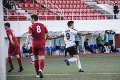 Van de de Rotskop van Gibraltar het Kwartdef. - voetbal - Europa 2-0 Europa Punt Royalty-vrije Stock Foto