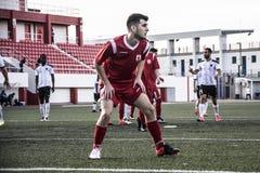Van de de Rotskop van Gibraltar het Kwartdef. - voetbal - Europa 2-0 Europa Punt Stock Foto's
