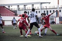 Van de de Rotskop van Gibraltar het Kwartdef. - voetbal - Europa 2-0 Europa Punt Stock Afbeelding