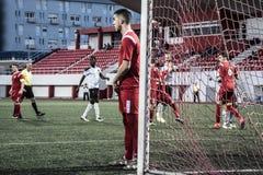 Van de de Rotskop van Gibraltar het Kwartdef. - voetbal - Europa 2-0 Europa Punt Stock Fotografie