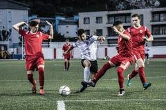 Van de de Rotskop van Gibraltar het Kwartdef. - voetbal - Europa 2-0 Europa Punt Stock Afbeeldingen