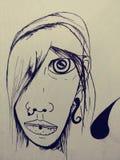 Van de de schetskunst van de tekeningsillustratie trippy psychadellic willekeurige koel pics Royalty-vrije Stock Afbeeldingen