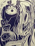 Van de de schetskunst van de tekeningsillustratie trippy psychadellic willekeurige koel pics royalty-vrije illustratie