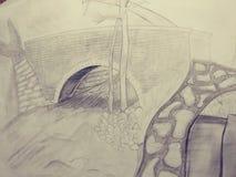 Van de de schetskunst van de tekeningsillustratie trippy psychadellic willekeurige koel pics Stock Fotografie