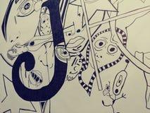 Van de de schetskunst van de tekeningsillustratie trippy psychadellic willekeurige koel pics Royalty-vrije Stock Fotografie