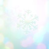 Van de de sneeuwvlok van de de wintervakantie de blauwe achtergrond, bokeh Stock Fotografie