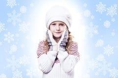 Van de de sneeuwvlok van het Meisje van de winter de blauwe achtergrond Stock Foto's