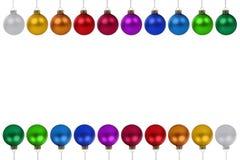 Van de de snuisterijen het kleurrijke grens van Kerstmisballen exemplaar ruimteiso copyspace Royalty-vrije Stock Afbeeldingen