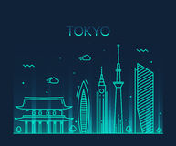 Van de de Stads In vectorillustratie van Tokyo de lijnart. Stock Fotografie