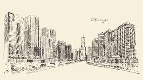 Van de de Stadsarchitectuur van Chicago Grote de Gravurevector Royalty-vrije Stock Afbeeldingen