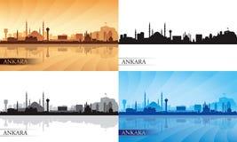 Van de de stadshorizon van Ankara het silhouetreeks Stock Foto
