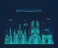 Van de de Stadshorizon van Barcelona In vector de lijnart. Stock Afbeelding