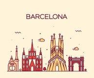 Van de de Stadshorizon van Barcelona In vector de lijnart. Stock Foto's