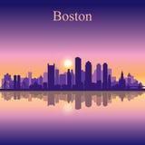 Van de de stadshorizon van Boston het silhouetachtergrond Stock Afbeeldingen