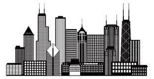 Van de de Stadshorizon van Chicago de Zwart-witte Vectorillustratie Stock Afbeelding