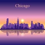 Van de de stadshorizon van Chicago het silhouetachtergrond Stock Foto's