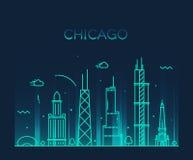 Van de de Stadshorizon van Chicago In vector de lijnart. Royalty-vrije Stock Foto