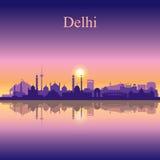 Van de de stadshorizon van Delhi het silhouetachtergrond Royalty-vrije Stock Afbeelding