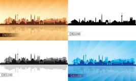 Van de de stadshorizon van Delhi het silhouetreeks Stock Foto