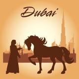 Van de de stadshorizon van Doubai het silhouetachtergrond Royalty-vrije Stock Foto