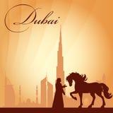 Van de de stadshorizon van Doubai het silhouetachtergrond Stock Fotografie