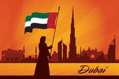 Van de de stadshorizon van Doubai het silhouetachtergrond Royalty-vrije Stock Afbeelding
