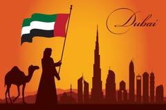 Van de de stadshorizon van Doubai het silhouetachtergrond Stock Foto
