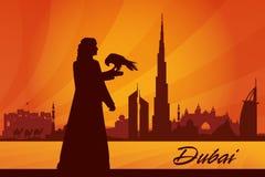 Van de de stadshorizon van Doubai het silhouetachtergrond Stock Afbeelding