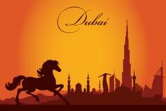 Van de de stadshorizon van Doubai het silhouetachtergrond Royalty-vrije Stock Afbeeldingen