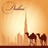 Van de de stadshorizon van Doubai het silhouetachtergrond Royalty-vrije Stock Fotografie