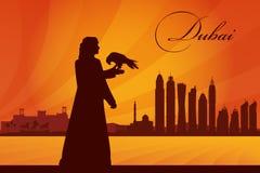 Van de de stadshorizon van Doubai het silhouetachtergrond Stock Afbeeldingen
