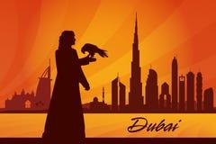 Van de de stadshorizon van Doubai het silhouetachtergrond Royalty-vrije Stock Foto's