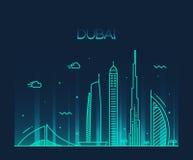 Van de de Stadshorizon van Doubai In vector de lijnart. Stock Foto