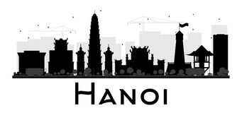 Van de de Stadshorizon van Hanoi het zwart-witte silhouet Stock Foto