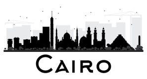 Van de de Stadshorizon van Kaïro het zwart-witte silhouet stock illustratie